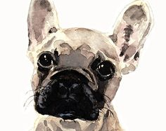 French Bulldog Puppy Cute & GUILTY - ORIGINAL Watercolor 5 x 7 - Mischief Maker Light Fawn Cutie Dog Lover Puppy Pal