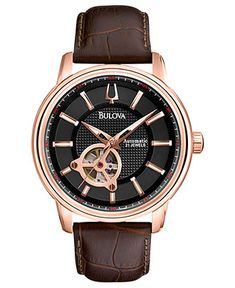 Bulova Watch, Men's Automatic Mechanical Brown Leather Strap 45mm 97A109 - Men's Watches - Jewelry & Watches - Macy's