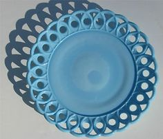 challinor taylor blue milk glass lace edge  plate