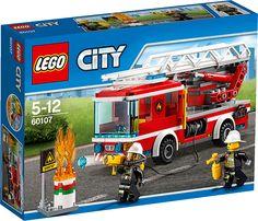LEGO City 60107 stegbil LEGO byggset: City stegbil (60107).Hoppa ombord på stegbilen och skynda iväg! Fäll ut stegen och släck branden. Använd den knoppskjutande slangen för att bekämpa elden och släck lågorna på marken med brandsläckaren. Se till så att inte oljetunnan exploderar! Nu är det du som måste skydda staden!