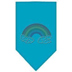 Rainbow Rhinestone Bandana Turquoise Small