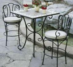 Juego de mesa y sillas de hierro blanco para exterior o - Sillas de patio ...