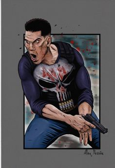 The Punisher, Alex Pessôa Comic Book Characters, Comic Books, Fictional Characters, Marvel Art, Marvel Comics, Paintings Tumblr, Mundo Marvel, Chibi, Punisher Marvel