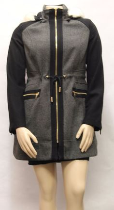 $86.99 LAUNDRY by SHELLI SEGAL Herringbone Black/Grey Wool Faux Fur SZ L Coat 860159 #LaundrybyShelliSegal #Trench #BusinessCasual