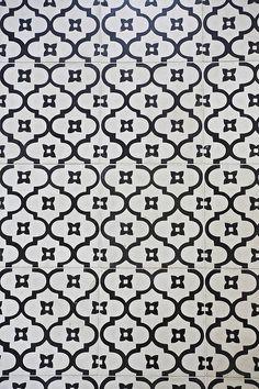 Hand-made floor tiles in the bathroom.