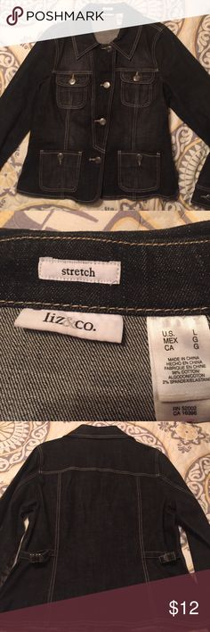Stretch jean jacket Stretch denim button down jacket. Fitted. Button cuff sleeves. Worn once. Liz & co. Jackets & Coats Jean Jackets
