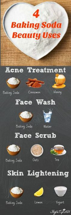 If you've ever run out of your favorite exfoliator, you've probably turned to baking soda! Baking soda is an all natural cleanser that has hundreds of uses, including beauty! Because baking soda is grainy, it's Baking Soda Water, Baking Soda And Lemon, Baking Soda Shampoo, Baking Soda For Skin, Baking Soda Beauty Uses, Baking Soda Uses, Homemade Skin Care, Diy Skin Care, Homemade Beauty
