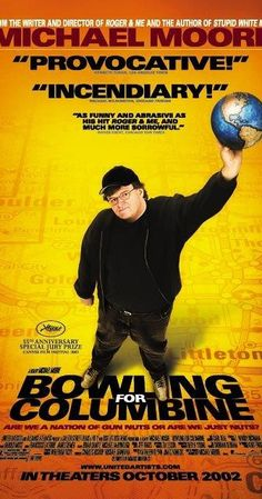 Directed by Michael Moore. With Michael Moore, Charlton Heston, Marilyn Manson, Salvador Allende. Filmmaker Michael Moore explores the roots of America& predilection for gun violence. Michael Moore, Great Films, Good Movies, Awesome Movies, Bowling, Bon Film, Best Documentaries, Interesting Documentaries, Film Review