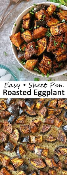 Deliciously spiced, this 6-ingredient, clean-eating, super easy oven roasted eggplant recipe is a nutritious vegan side dish to add to your dinner table. Eggplant Side Dishes, Vegan Side Dishes, Vegetable Side Dishes, Side Dish Recipes, Vegetable Recipes, Food Dishes, Vegetarian Recipes, Dinner Recipes, Cooking Recipes