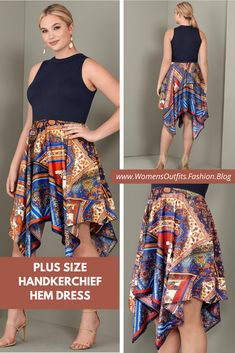 💥 PLUS SIZE HANDKERCHIEF HEM DRESS  This handkerchief hem dress--YES it's one piece--goes the distance to lengthen and slim your torso! The high, mock neck, generous shoulder cut outs, and graceful hem smooth and enhance your silhouette. The slightly Boho fabric of the bottom half pairs perfectly with sandals of every heel height.  #Fashion #plussize #outfit #womenswear #womensclothing #clothing #clothes #shoppingonline #chic #apparel #shopping #dresstoimpress