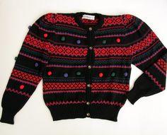 Vintage sweater // 80's Pom Pom cardigan // size S by Yugovicheva