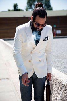 White double breasted blazer. #manbun
