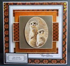 Card made using the new World Wildlife collection. This is the small popper pad, which I have used 4 sheets to made it a stacker card. Crafts To Do, Hobbies And Crafts, African Theme, Easy Cards, Junk Art, Animal Cards, African Animals, Card Tutorials, Masculine Cards