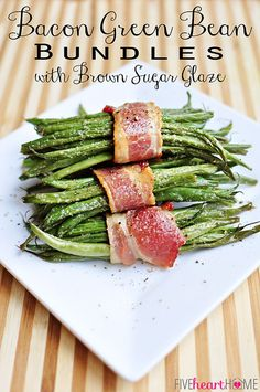 Bacon Green Bean Bundles with Brown Sugar Glaze on FoodBlogs.com