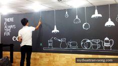 Painting cheap cafe wall- Painting cheap coffee shop P . Kitchen Backsplash Photos, Small Restaurant Design, Rustic Wall Shelves, Coffee Wall Art, Cafe Wall, Graffiti Murals, Cafe Interior Design, Shop Interiors, Inspiration Wall
