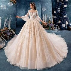 Classy Champagne Wedding Dresses 2019 Ball Gown VNeck Sequins Lace Flower Bell sleeves Backless Royal Train is part of Satin wedding gown - Western Wedding Dresses, Wedding Dresses 2018, Quinceanera Dresses, Making A Wedding Dress, Cheap Wedding Dress, Gown Wedding, Wedding Lace, Rhinestone Wedding, Wedding Bouquet