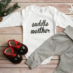 Cuddle Weather Baby Bodysuit, baby onesie, grey harem pants, baby, newborn, infant, long sleeve bodysuit, organic cotton, red ladybug booties, outfit, girl, boy, gender neutral, unisex, handmade #genderneutralbabyclothes #babygirloutfits