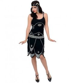 Iconic by UV Exclusive Black   Silver Sequined Gatsby Flapper Dress aaf7c36c2