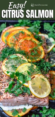 Elegant and simple, Citrus Salmon is slow-roasted in the oven over a bed of lemon and orange slices, drizzled with olive oil and a handful of seasonings to create an unforgettable flavor. This mouth-watering dinner is perfect for impressing dinner guests and comes together in just over 30 minutes. Citrus Salmon Recipe, Salmon Recipes, Seafood Recipes, Dinner Recipes, Vegetarian Recipes Easy, Easy Healthy Dinners, Healthy Recipes, Easy Recipes, Easy Mediterranean Recipes