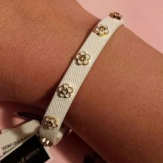 Juicy couture white flower studded bracelet BNWT juicy leather bracelet. Super cute flowers Juicy Couture Jewelry Bracelets