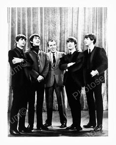 The Beatles Pose With Ed Sullivan 1964 8x10 Reprint Of Old Photo