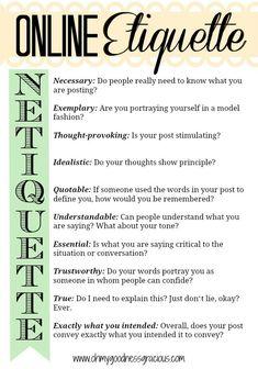 Una sola parola per ricordare i principi fondamentali della #netiquette. #galateo #etiquette