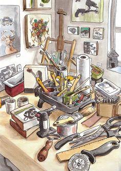 vanHorne by Steven Reddy Watercolor Watercolor Sketch, Watercolor Illustration, Art Sketches, Art Drawings, Artist Workspace, Urban Sketchers, Art Journal Pages, Copics, Illustrations