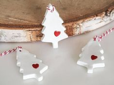 Christmas tree ornaments -Set of 3 rustic Christmas decorations -Red and white winter wedding favor -Handmade Christmas decor -Clay gift tag Clay Christmas Decorations, Polymer Clay Christmas, Diy Christmas Ornaments, Rustic Christmas, Holiday Crafts, Christmas Time, White Christmas, Wedding Decorations, Diy Cadeau Noel