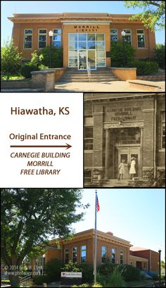The original Carnegie grant of $10,000 was supplemented with additional funds from many local patrons. Numerous additions and upgrades have been locally funded over the years, and the building still functions as the town library. (Photos by Larry Clark) FACTS: Hiawatha, Kansas (Brown County; Built 1907: Funded $10,000, Latitude: 39.852875; Longitude: -95.532628 Larry Clark, Carnegie Library, Brown County, Free Library, Historical Pictures, Weekend Trips, Libraries, Kansas, Places Ive Been