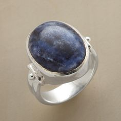 LAPIS LAGOON RING--As alluring as a blue lagoon, the stone in our blue lapis cabochon ring is framed by sterling silver shores. Handcrafted Sundance exclusive. Whole sizes 6 to 10.