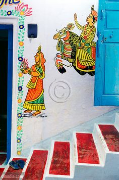 Beautiful wall painting at door in Kankroli, Rajasthan -India