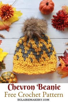 The Chevron Beanie will be your new favorite crochet hat pattern! Bold, preppy, and super easy to make, this chunky crochet winter hat pattern for women is the perfect fall wardrobe staple. The unique crochet chevron pattern is created using tapestry crochet, and includes a crochet youtube video tutorial to help make it even easier to crochet. #crochethat #crochetbeanie #freecrochethat #freecrochetbeanie #crochethattutorial #crochetyoutubevideo #crochetchevron #crochethatwithbrim