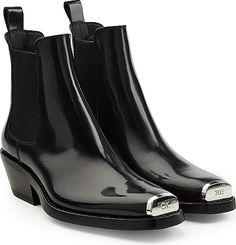 a5f17892299 CALVIN KLEIN 205W39NYC Leather Ankle Boots - Ankle Boots - Black. Glossy  and refined in