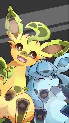 Pokèmon Leafeon x Glaceon. O Pokemon, Pokemon Fan Art, Pokemon Lock Screen, Anime Lock Screen, Cute Pokemon Pictures, Pokemon Images, Animes Wallpapers, Cute Wallpapers, Creature Concept