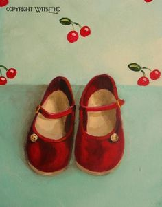 'THE CHERRY RED SHOES THAT STARTED IT ALL', Red Shoes painting original ooak fashion art childs by 4WitsEnd, via Etsy SOLD