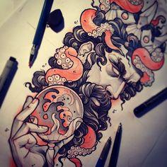 #tattoo #tattooart #tattooflash #mvtattoo #poseidon #neptune #god #elder #octopus
