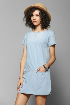 BDG Chambray Front-Pocket Shift Dress #UrbanOutfitters