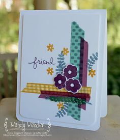 Stamps: Endless Thanks Paper: Whisper White Ink: Blackberry Bliss, Island Indigo, Delightful Dijon Accessories: Bohemian Designer Washi Tape, Bermuda Bay Sequin Trim, Project Life Corner Rounder Punch Stampin Up Anleitung, Washi Tape Cards, Masking Tape, Cards For Friends, Friend Cards, Tape Crafts, Card Making Inspiration, Flower Cards, Creative Cards