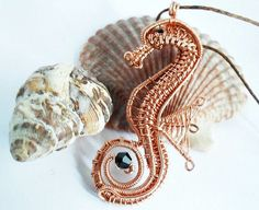 wire wrapped beaded seahorse pendant copper by 2wired on Etsy