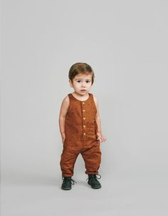 Overall Romper - Starlight Print in Rust colour by Rylee and Cru in Canada –…