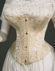 It's National Underwear Day—This fashionable woman in the is wearing a chemise and drawers, a corset was gusseted and boned to give a full bust and hips and small waist, a hoop skirt supported a. Vintage Corset, Vintage Underwear, Victorian Corset, Vintage Lingerie, Victorian Fashion, Vintage Fashion, Lingerie Xxl, Vintage Outfits, Queen Victoria