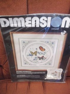 Dimensions Butterfly Afternoon Crewel Kit 1289 Vintage 1985 Karen Avery New #Dimensions