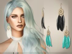 The Sims Resource: Dovetail Earrings by toksik • Sims 4 Downloads