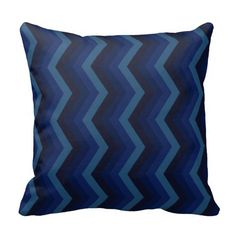 Geometric ZigZag Throw Pillow Shades of Deep Blue