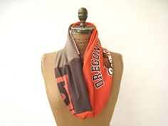 Oregon State University T Shirt Infinity Scarf / Orange White Brown / Beavers / Fall / Autumn / Cotton / Soft / tagt team / tagt / by ohzie