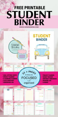 I truly enjoyed creating this free printable student binder that I am sharing with you today. Being a teacher for eight years, sharing organizers that can help students succeed is special for me. Student Teacher Binder, Student Binder Covers, Binder Covers Free, Student Planner, Goal Setting Sheet, Goal Settings, Printable Planner, Free Printables, Bujo