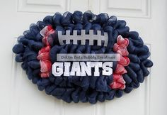 A https://www.facebook.com/GogelAuto RePin - NY Giants Deco Mesh College Football Shaped Wreath Please stop by and like us on FB! Gogel Auto Sales, Rt10, East Hanover. https://www.facebook.com/GogelAuto