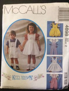 McCall's 4898 1990 90s Kitty Benton Pattern Children's Pinafore Overalls Romper Size 2