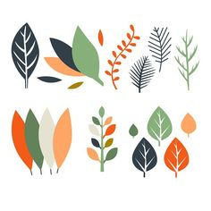 Leaves in Flat Design. Photoshop Textures