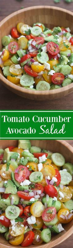 Tomato Cucumber Avocado Salad--Tomato Cucumber Avocado Salad is the perfect EASY, light and fresh summer side dish. Tomato Cucumber Avocado Salad – Tomato Cucumber Avocado Salad is the perfect EASY, light and fresh summer side dish. Cucumber Avocado Salad, Avocado Salad Recipes, Avocado Dessert, Pinapple Salad, Cucumber Bites, Spinach Salad, Avocado Toast, Vegetarian Recipes, Cooking Recipes